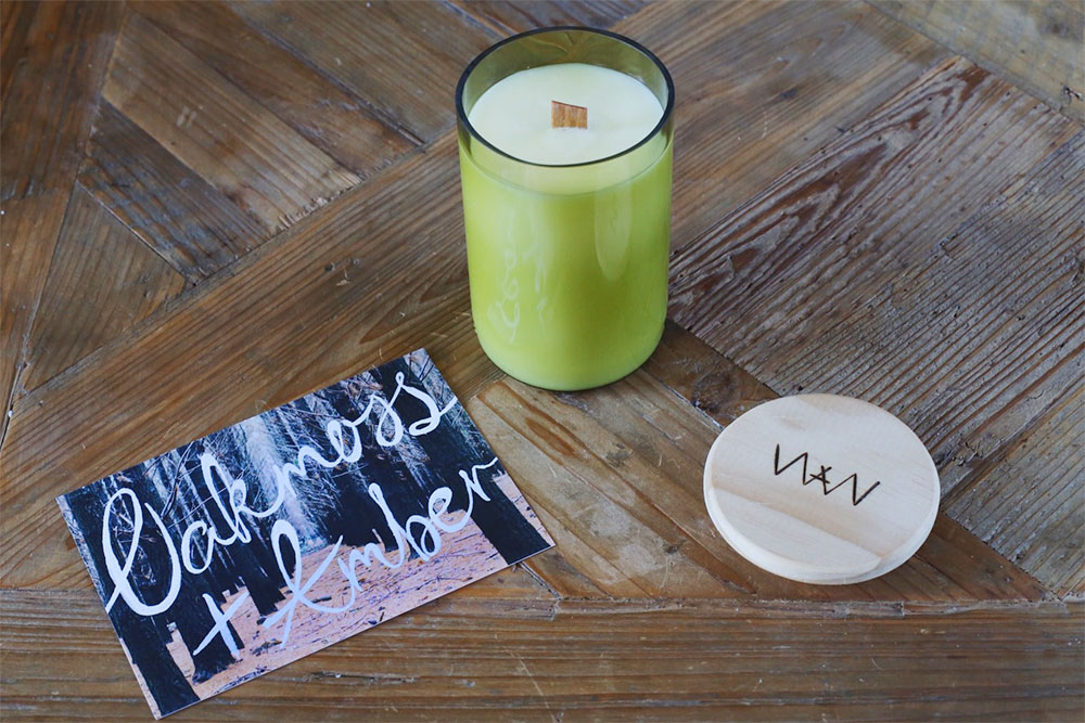 We Are Wild oakmoss + amber recycled wine bottle soy candle
