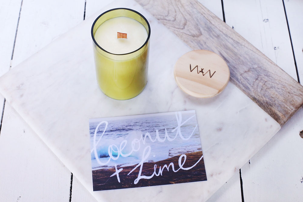We Are Wild lime + coconut recycled wine bottle soy candle