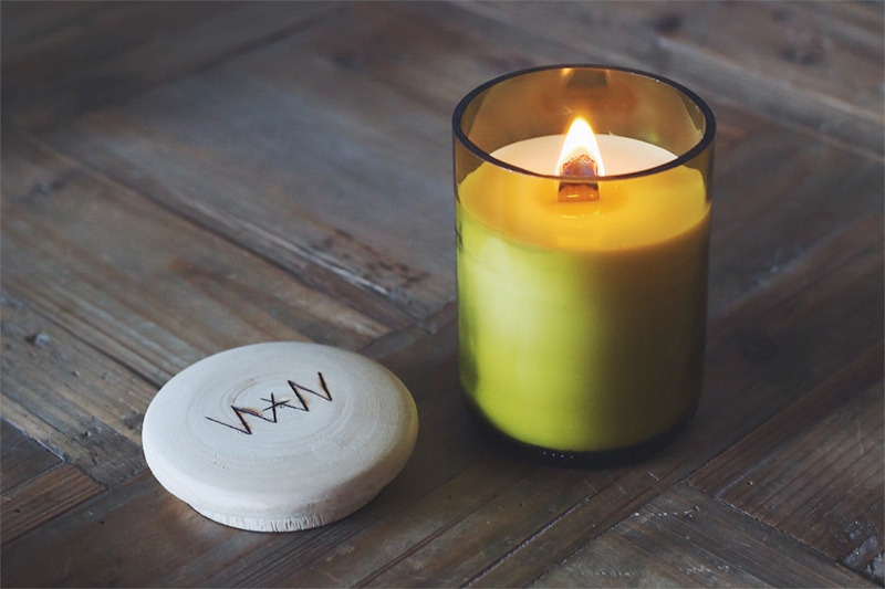 We Are Wild soy candles recycled wine bottles
