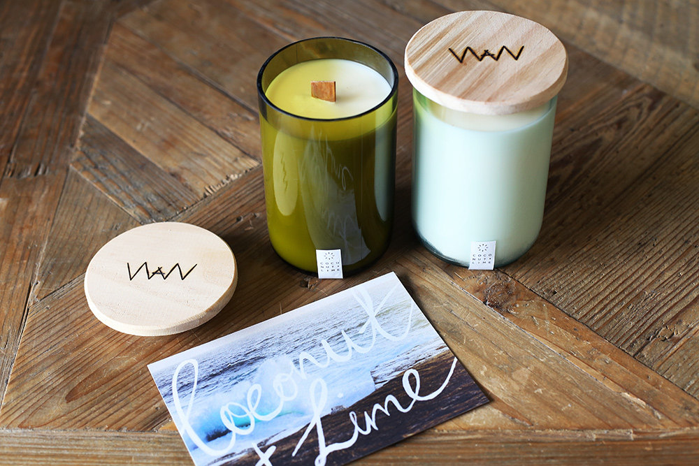 We Are Wild Coconut + Lime recycled wine bottle candle