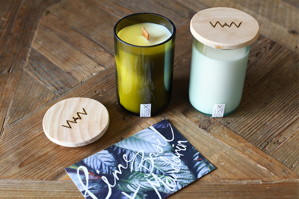 We Are Wild Lime, Basil + Mandarin recycled wine bottle candle