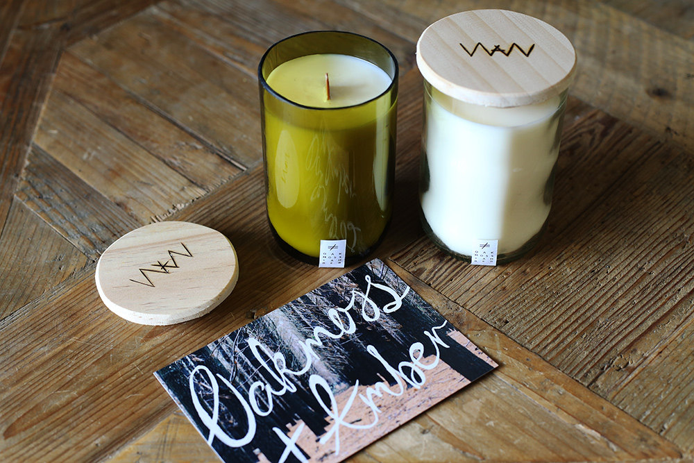 We Are Wild Oakmoss + Amber recycled wine bottle candle