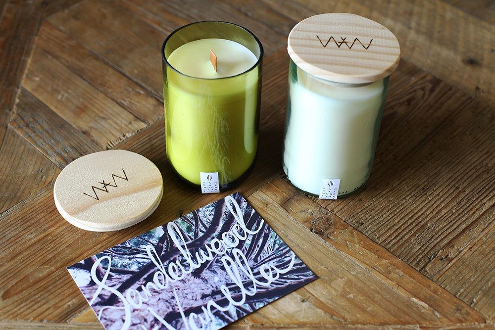 We Are Wild Sandalwood + Vanilla recycled wine bottle candle