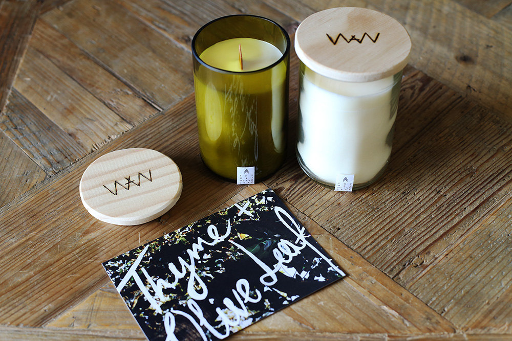We Are Wild Thyme + Olive Leaf recycled wine bottle candle