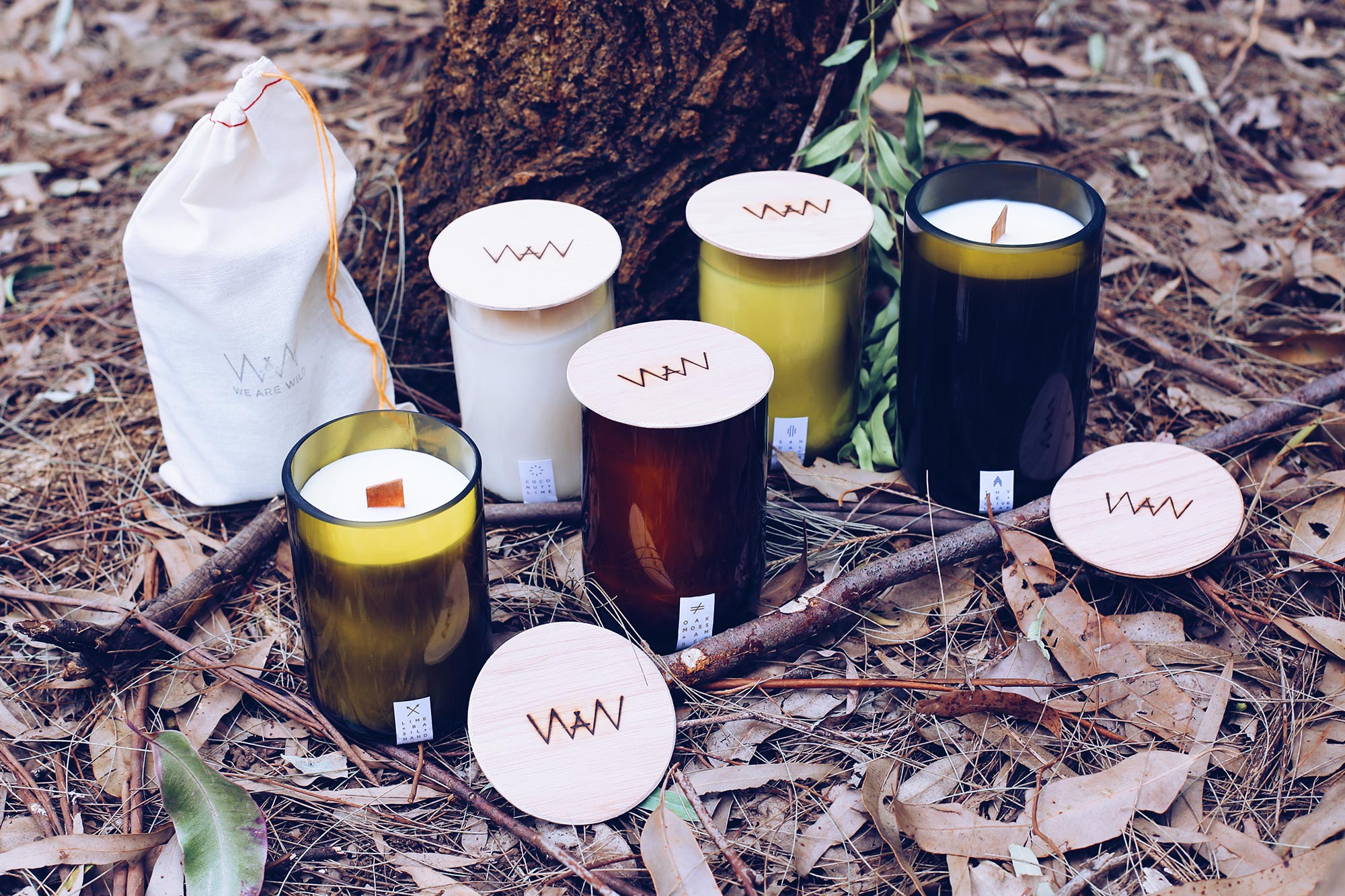 We Are Wild recycled wine bottle candles