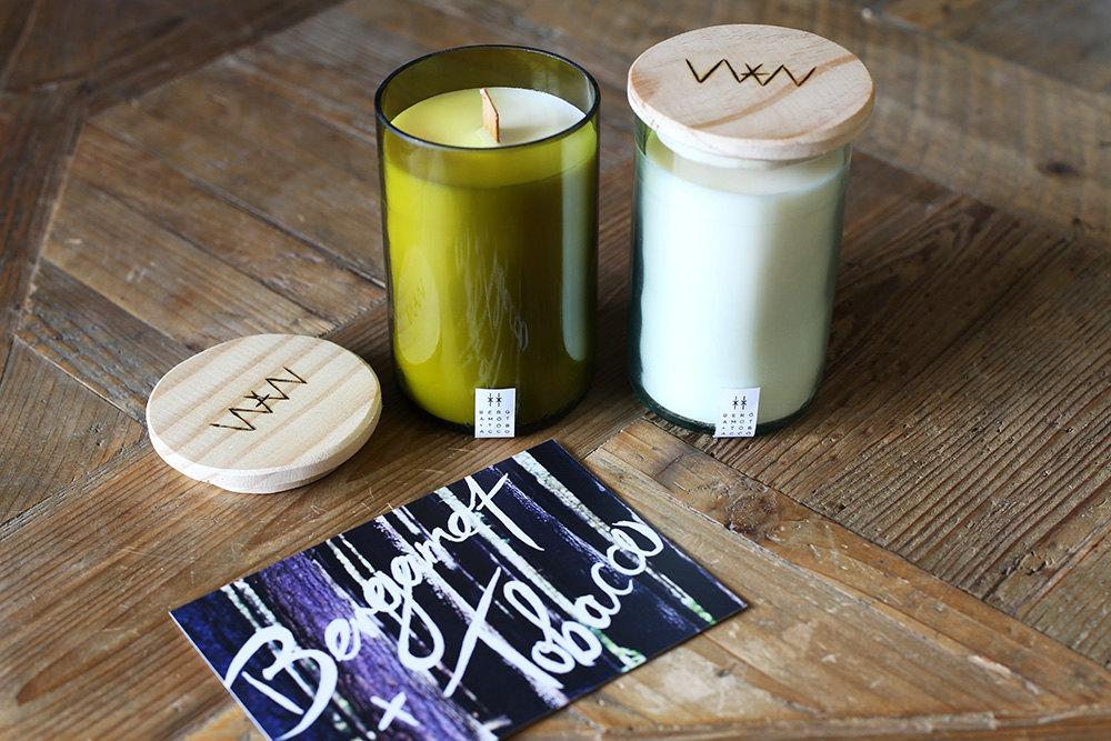 We Are Wild Bergamot + Tobacco recyled wine bottle candle
